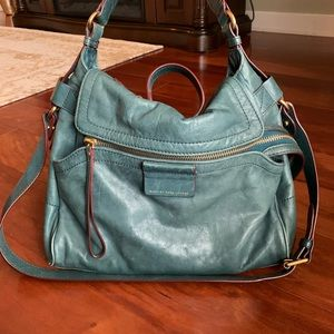 Marc Jacobs teal leather moto bag